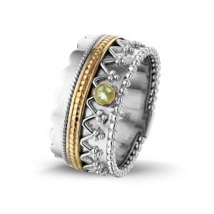 Zilver met 14 krt geel gouden ring..