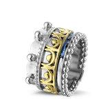 Zilveren ring, gecombineerd met 14 krt geel- of rosegoud_