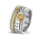 Zilver met 14 krt geel gouden ring. _