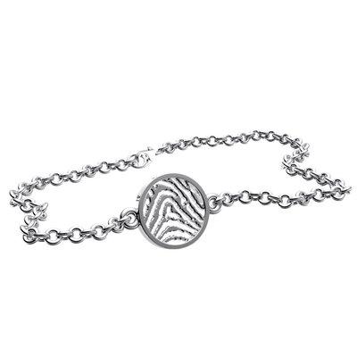 Armband met vingerafdruk, ronde vorm, zilver