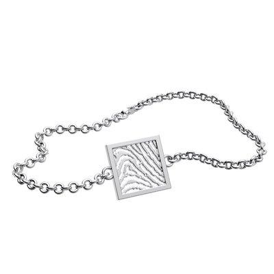Armband met vingerafdruk, vierkant vorm, zilver