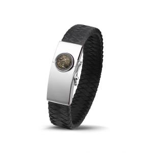 Zilver/lederen, dubbel gevlochten, armband gevuld met as