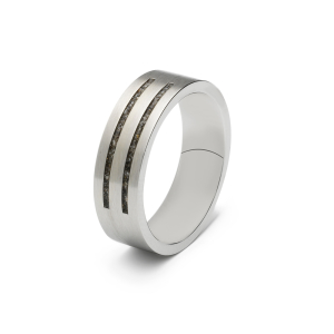 Stalen ring, 2 strepen. Breedte: 6mm / 0.24 inch