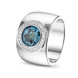 14 krt Wit Gouden ring met diamant.