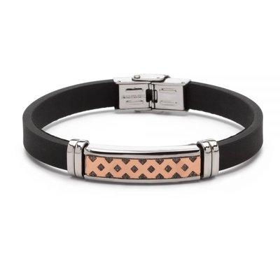 Stalen armband met rubberen band.