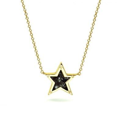 Zilveren ster hanger met zirkonia. Gele oplage.