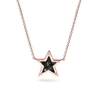 Zilveren ster hanger met zirkonia. Rose oplage.