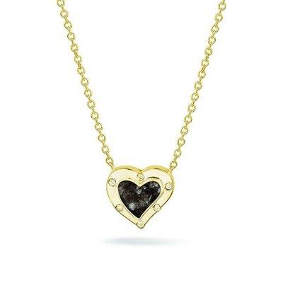 Zilveren hart hanger met zirkonia. Gele oplage.