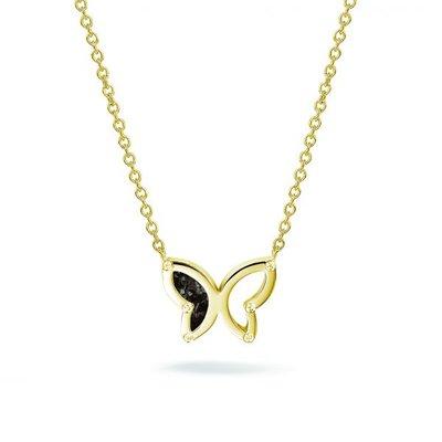 Zilveren vlinder hanger met zirkonia. Gele oplage.