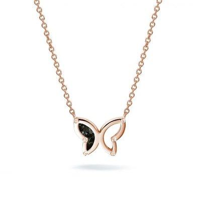 Zilveren vlinder hanger met collier en zirkonia's. Rose oplage.