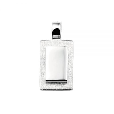 Zilveren hanger mat/glans. lengte: 2,3 cm. Breedte: 1.2 cm.