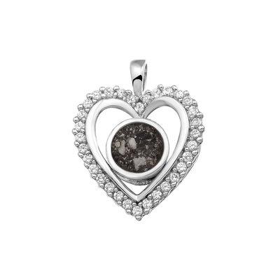 Zilveren hanger, hart gezet met zirkonia. Deze is aan de voorkant open