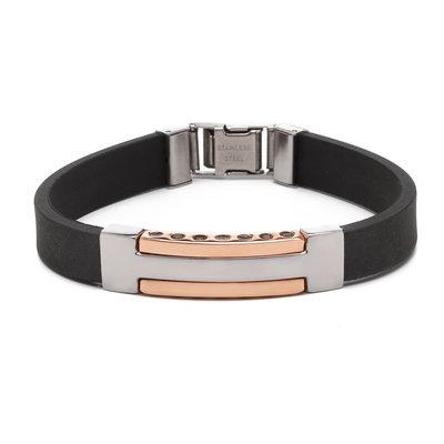 Stalen armband met rubberen band. Breedte: 11 mm / 0.43 inch