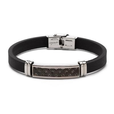 Stalen armband met rubberen band. Breedte: 10 mm / 0.39 inch