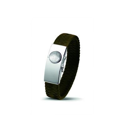 Zilver/lederen armband met vingerafdruk
