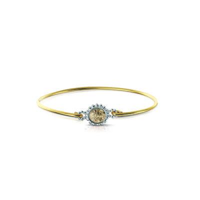 Zilveren armband gecombineerd met 14 krt geel goud