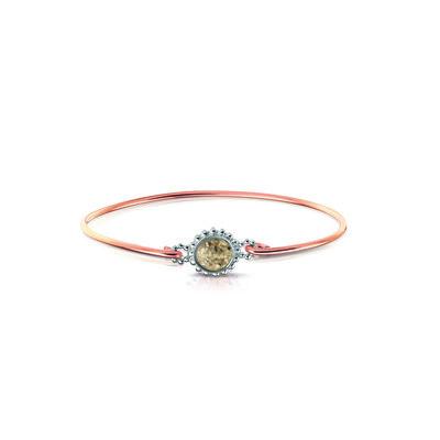 Zilveren armband gecombineerd met 14 krt rose goud