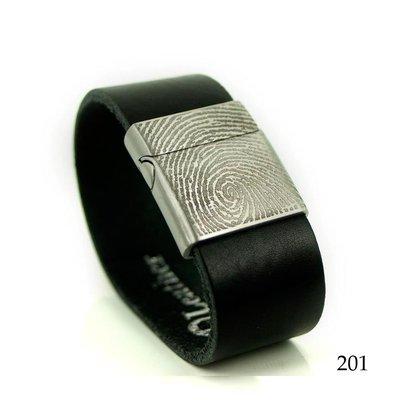 Leren armband met vingerafdruk zwart