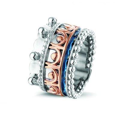 Zilveren ring gecombineerd met 14 krt rose goud.
