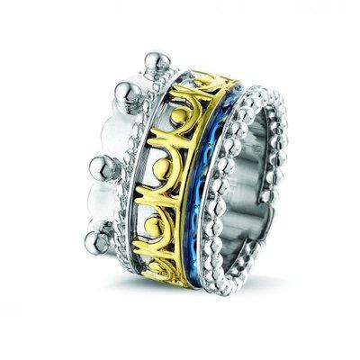 Zilveren ring gecombineerd met 14 krt geel goud.