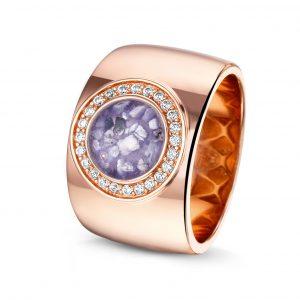 14 krt Rosé Gouden ring met diamant.