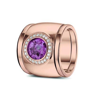14 Krt rose gouden ring gezet met diamant. Plus rose gouden aanschuifringen