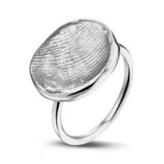 14 krt wit gouden ring met zilveren vingerafdruk.