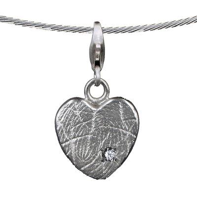 Zilveren hartvormige hanger met steen