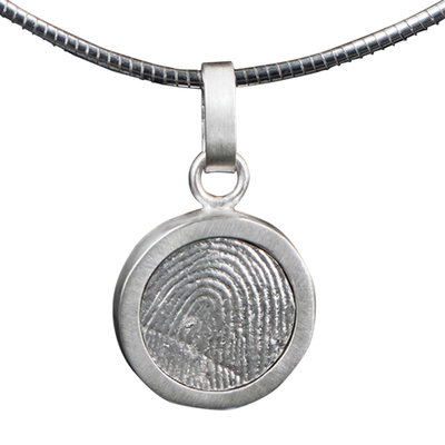 Zilveren ronde vingerafdruk hanger