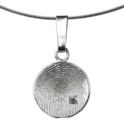 Zilveren Ronde hanger met steen