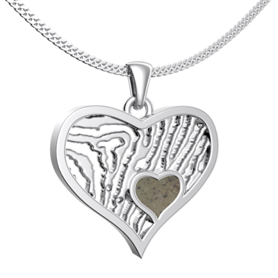 Zilveren hanger -sierlijk hartje met vingerafdruk met askamer