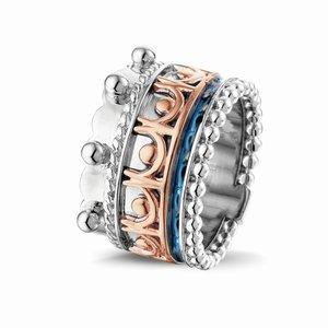 Zilveren ring, gecombineerd met 14 krt geel- of rosegoud