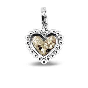 Zilveren bedel hart