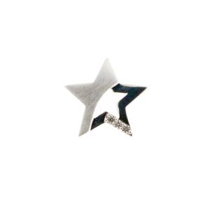 Zilveren ster hanger, mat/glans, gezet met zirkonia's