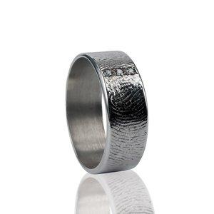 zilveren vingerafdruk ring met 3 stenen