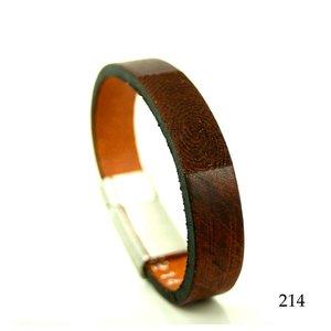 leren armband met vingerafdruk bruin-zwart