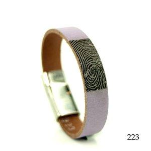 leren armband met vingerafdruk paars